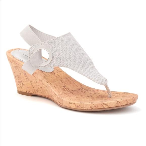 dc65f65cb76 Croft   Barrow Ortholite Glitter Wedge Sandals